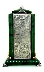 Antique Russian Silver Nephrite Paperweight And Pen Holder.