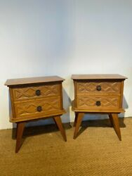 Pair Of Art Deco Bedside Cabinets / Lamp Tables
