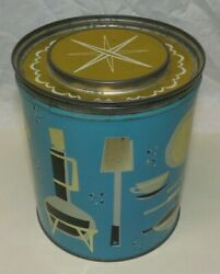 Fluffo Shortening Procter And Gamble Mid Century Modern Coffee Tin Can Abstract
