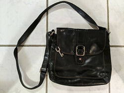 Fossil Crossbody Black Purse Leather with Adjustable Strap $28.89