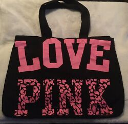 NEW VICTORIAS SECRET PINK quot;Love Pinkquot; Black w Pink Leopard shopping beach TOTE $9.90