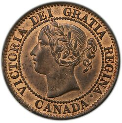 1859 Canada One Cent, Pcgs Ms62rb, Dpn9 T2, Exceptional Red Color, Very Rare