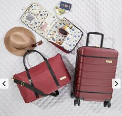 Samantha Brown 3-piece Hardside Spinner, Satchel And Cosmetic Case Burgundy Red