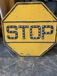 Vintage Yellow Stop Sign With Glass Reflectors