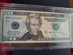 20 Dollar Bill Star Note Rare 2013 Low Serial Number Circulated In A Bcw Slab