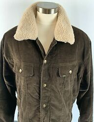 Lee Corduroy Trucker Jacket Sherpa Lined Size Xxl Removable Collar Brass Button