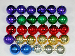 Vintage Lot 30 Mercury Glass Christmas Tree Ornaments Round 1.5 Usa Red Green