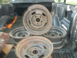 4 Ford 14x7 5 Slot Styled Steel Wheels W/caps And Rings Mustang Cougar Torino