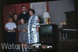 1950s red border Kodachrome Photo slide Family by Television set