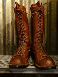 Used Wesco Highliner Logger Work Boots Motocross 91 2 D Size Brown Color