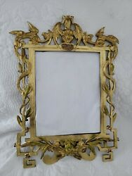 Antique Gothic Rococo Cast Iron Griffins And Frog Ornate Frame 11x17