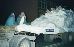 1955 Slide View of Christmas Parade Float An Angel Chorus Red Border Location ?