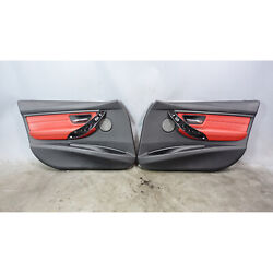 2012-2017 Bmw F30 3-series F31 Front Interior Door Panels Coral Red Leather Oem