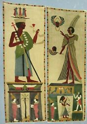 Pair Of Antique Egyptian Pictograph Velour Fabric Wall Hanging Tapestries Gods