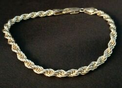 Vintage Sterling Silver Gp Rope Chain Bracelet 925 Italy Twisted 12.6g