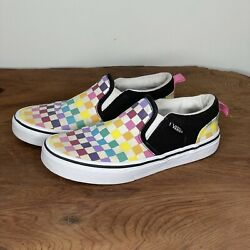 Vans Off The Wall Kids Slip OnMulticolored Checkerboard Shoes Size 2Y