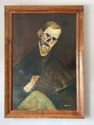 SANDERS CUBIST MODERN OIL PAINTING VINTAGE CUBISM ABSTRACT EXPRESSIONIST 1950s
