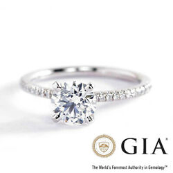 Gia Certified 0.95 Ct Si2 F French Round Diamond Engagement Ring 18k White Gold