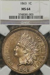 1863 1c Ngc Ms64 Indian Head Cent Copper Nickel - Looks Cameo, Plish Field