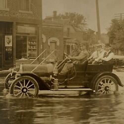 Antique Rppc Real Photograph Postcard Natural Disaster Flood Street View Model T