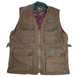 Vintage Field And Stream Canvas Vest Outdoors Hunting Brown Pockets Size Xl Long