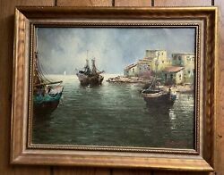 Antique Beautiful Oil Painting On Canvas Sea Port Town Signed 16x12 W/o Frame