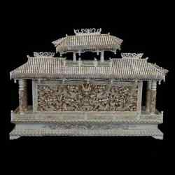 Antique Large Chinese Nine Dragons Carved Bovine Bone Wall With Pagoda