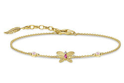Thomas Sabo Jewelry Womenand039s Bracelet Butterfly Silver Goldplated A1937-488-7-l19