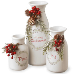 Merry Christmas Antique Milk Bottles Set Of 3 Holiday Home Xmas Decoration Gift