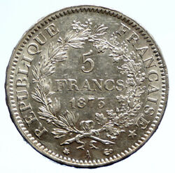 1873 A France Hercules Group Antique Vintage Silver 5 Franc French Coin I96237