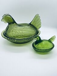Vintage Indiana Glass Co Green Glass Hen On Nest 7 And Mini 3 Hen Covered Dishes
