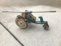 Vintage Cast Iron Working Lawn Traveling Tractor Watering Sprinkler Rare Teal