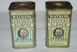 Antique Vintage Rare Watkins Spice Tins Full Allspice And Cloves Cans