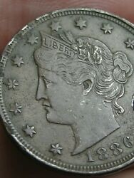 1886 Liberty Head V Nickel 5 Cent Piece- Xf Details