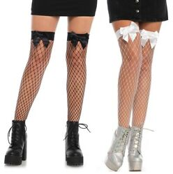 Fence Net Thigh Highs W/bow Top, Big Fishnets, Stockings, Burlesque, Fancy Dress
