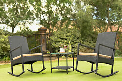 3-pieces Outdoor Patio High-back Rocker Set Cushioned Chair Rattan Wicker Table