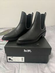 New Coach Bowery Black Beadchain Chelsea Booties Woman's Size 6.5 225.sold Out