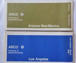 2 Vintage 1972 1973 Arco Gas Maps Los Angeles Streets New Mexico And Arizona