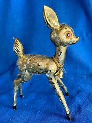 Vintage Mid Century Gold Glitter Pastic Atomic Christmas Reindeer Figure W/bell