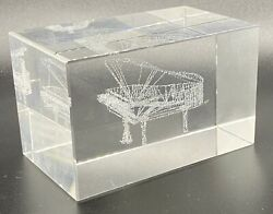 Solid Crystal Clear Glass 3d Laser Etched Grand Piano Paperweight Pianist Gift