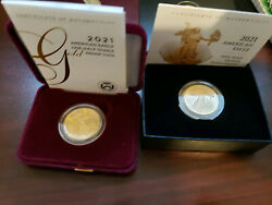 Gold Eagles 1/2 Oz Gold Coins 2 Proof Coins Type-1 And Type-2 Mint Coins