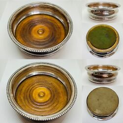 Pair Of Sheffield Silver Plated And Oak Champagne Or Wine Bottle Coasters C.1890