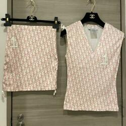 Authentic Christian Dior Vintage Trotter Tank Top Skirt Set Pink Size 36