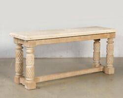 A Baroque Style Cast Stone Snd Limed Oak Console Table