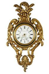Early 20th Century Rococo Style Carved Giltwood Cartel Clock