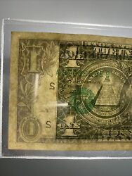 1993 One Dollar Bill Very Off Centrted Error Misaligned 1 Inch More Over Ink!!!