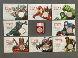 Full Set 9x1 Oz Tuvalu Marvel Series Silver Coins In Cards. Spiderman Ngs Ms70