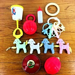 Vintage 1950s 1960s Baby Rattle Celluloid Plastic Lot Mcm Poodles Teething Ring