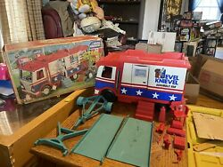 Vintage 1973 Ideal Toys Evil Knievel Scramble And Accessories With Original Box