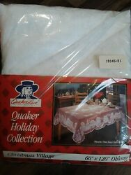 Vintage Quaker Lace Christmas Village Tablecloth 60x120 Oblong Rare New In Bag